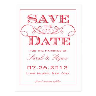 Elegante rote Strudel-Save the Date Postkarte
