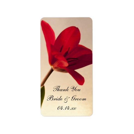 Elegante rote Tulpe-Hochzeit danken Ihnen, Adressaufkleber