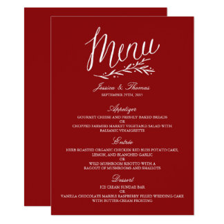 Elegante rote und weiße Hochzeits-Menü-Vorlagen Karte