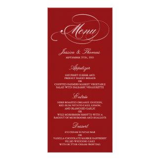 Elegante rote und weiße Hochzeits-Menü-Vorlagen Werbekarte