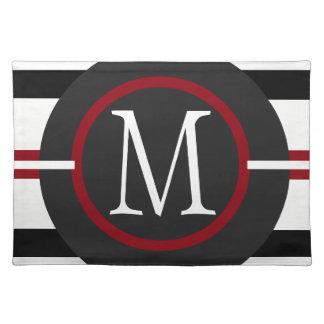 Elegante rote, weiße u. schwarze Linien mit Stofftischset