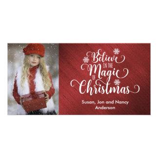 Elegante rotes und weißes WeihnachtsFoto-Karte Karte