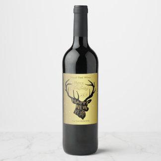 Elegante Rotwild-Goldfolien-Feiertags-Wünsche Weinetikett