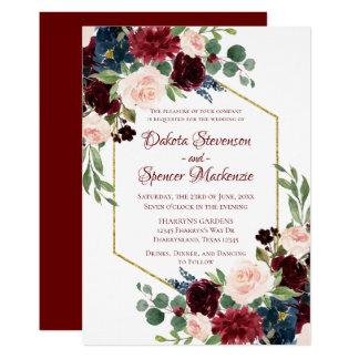 Elegante rustikale Boho Burgunder Hochzeit der Karte