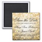 Elegante Save the Date GoldGlitter-Lichter Quadratischer Magnet
