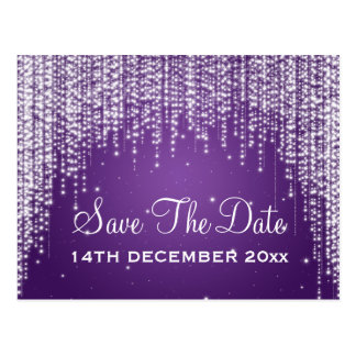 Elegante Save the Date Nacht blenden Lila Postkarte