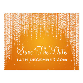 Elegante Save the Date Nacht blenden Orange Postkarte