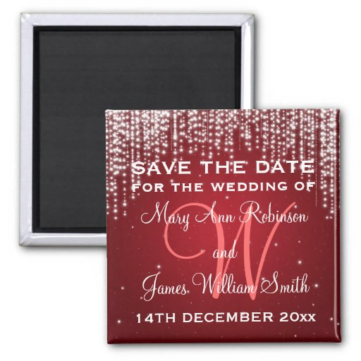 Elegante Save the Date Nacht blenden Rot Magnets