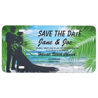 Elegante Save the Date PlastikLincense Platte US Nummernschild