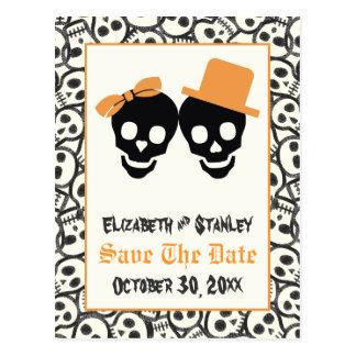 Elegante Schädel Halloween, das Save the Date Postkarte