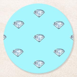 Elegante schicke glänzende Diamanten Girly Runder Pappuntersetzer