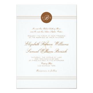 Elegante schicke weiße Monogramm-Hochzeit Browns 12,7 X 17,8 Cm Einladungskarte