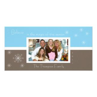 Elegante Schneeflocke-Foto-Karte (braun-blau) Foto Karten Vorlage
