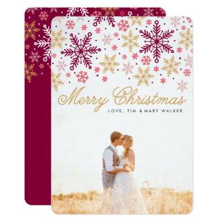Elegante Schneeflocke-frohe Weihnacht-Foto-Karte 12,7 X 17,8 Cm Einladungskarte