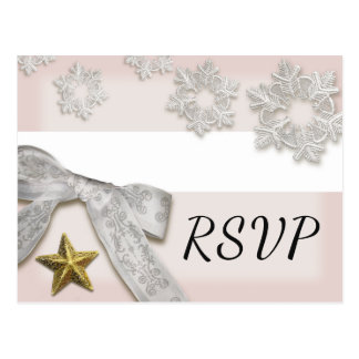 Elegante Schneeflocke-Winter-Hochzeit UAWG Postkarte
