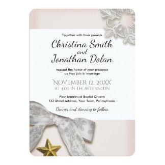 Elegante Schneeflocke-Winter-Hochzeits-Einladung Karte
