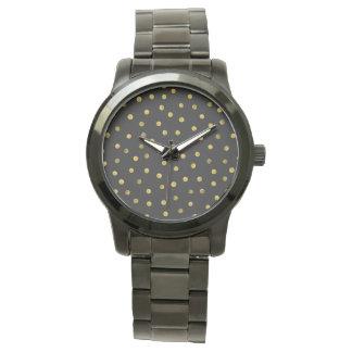 Elegante Schwarz-und Goldfolieconfetti-Punkte Armbanduhr