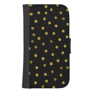 Elegante Schwarz-und Goldfolieconfetti-Punkte Geldbeutel Hülle Für Das Samsung Galaxy S4