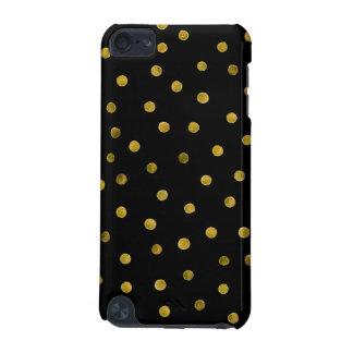 Elegante Schwarz-und Goldfolieconfetti-Punkte iPod Touch 5G Hülle
