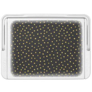 Elegante Schwarz-und Goldfolieconfetti-Punkte Kühlbox