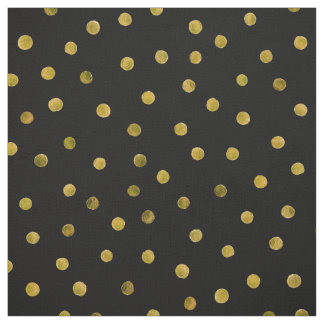 Elegante Schwarz-und Goldfolieconfetti-Punkte Stoff