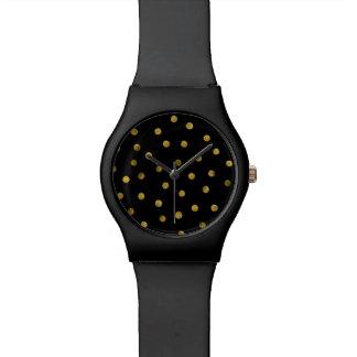 Elegante Schwarz-und Goldfolieconfetti-Punkte Uhr