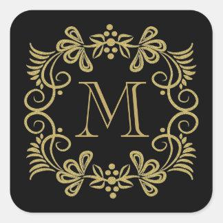Elegante Schwarz-und Goldmonogramm-Aufkleber Quadratischer Aufkleber