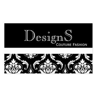 Elegante Schwarz-weiße Damast-Mode-Geschäfts-Karte Visitenkarte