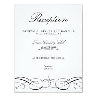 Elegante Schwarz-weiße Hochzeits-Empfangs-Karte Karte