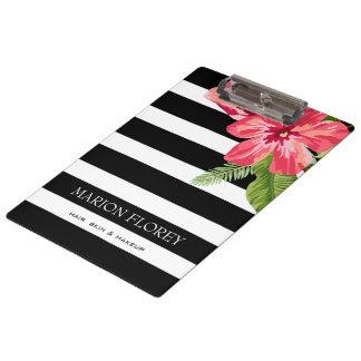 Elegante Schwarz-weiße Streifen mit exotischen Klemmbrett