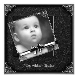 Elegante schwarze Damast-Foto-Geburts-Mitteilung Individuelle Ankündigungen