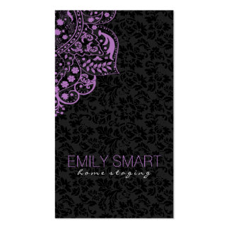 Elegante schwarze Damast-lila Vintage Spitze Visitenkarten