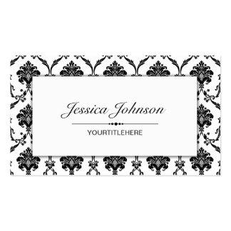 Elegante schwarze Damast-Muster-Visitenkarte Visitenkarten
