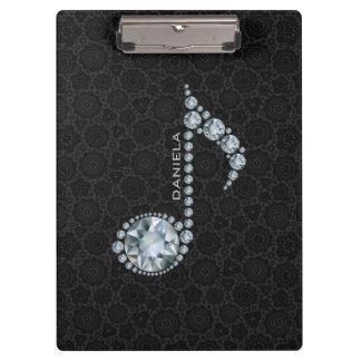 Elegante schwarze Damast-und Diamant-Anmerkungen Klemmbrett