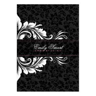 Elegante schwarze Damast-weiße Blumenverzierung 2 Mini-Visitenkarten
