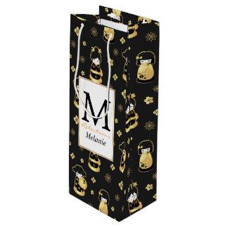 Elegante schwarze goldene japanische Puppen Geschenktüte Für Weinflaschen