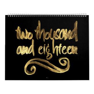 Elegante schwarze Goldtypographie des guten Rutsch Wandkalender