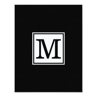 Elegante schwarze Monogramm-Hochzeits-Einladung 10,8 X 14 Cm Einladungskarte