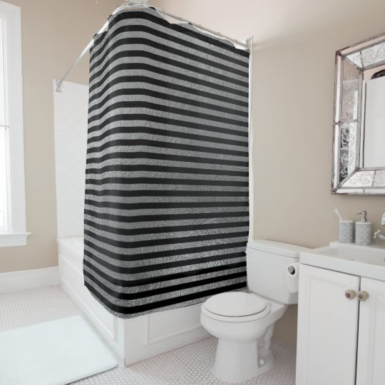 Elegante schwarze silbernes Grau-minimale große Duschvorhang