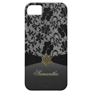 Elegante schwarze Spitze personalisierter iPhone 5 iPhone 5 Hüllen