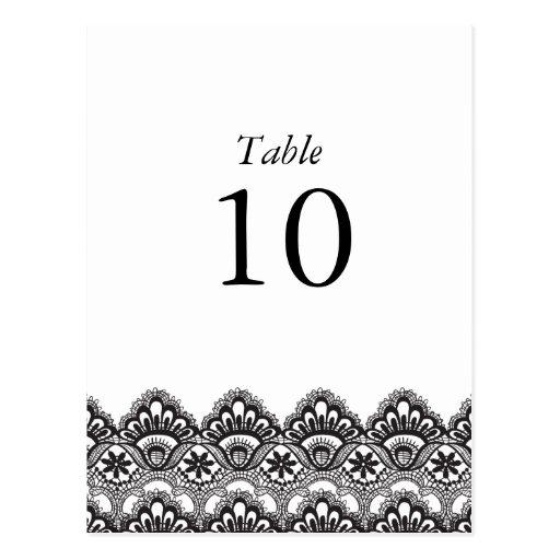 Elegante schwarze Spitze-Tischnummer-Postkarte