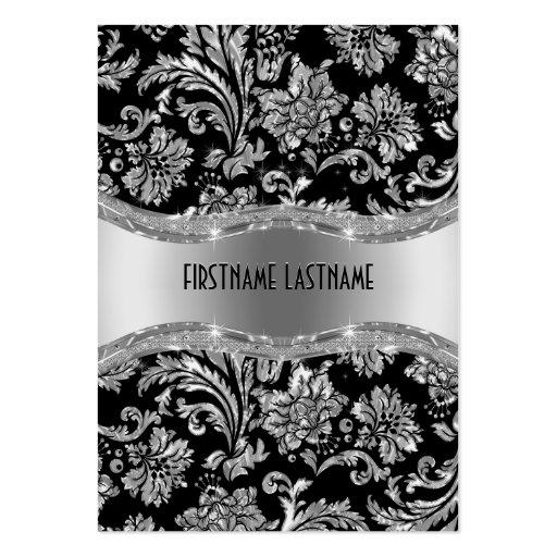 Elegante schwarze u. metallische silberne Vintage Visitenkartenvorlagen