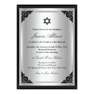 Elegante schwarze u. silberne Schläger mitzvah 12,7 X 17,8 Cm Einladungskarte