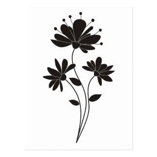Elegante schwarze u. weiße Blume Postkarte