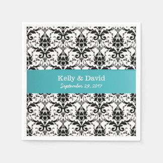 Elegante schwarze u. weiße Damast-Muster-Hochzeit Papierserviette
