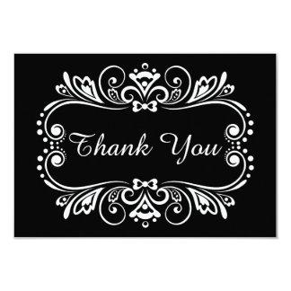 Elegante schwarze u. weiße Hochzeit danken Ihnen 8,9 X 12,7 Cm Einladungskarte