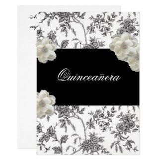 Elegante schwarze u. weiße Quinceanera Einladung