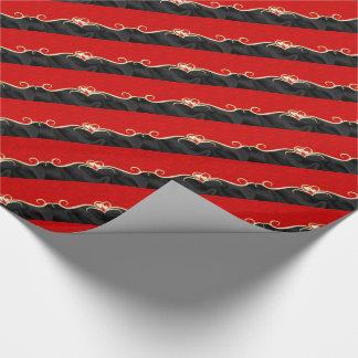 Elegante schwarze und rote goldene Herzen Geschenkpapier