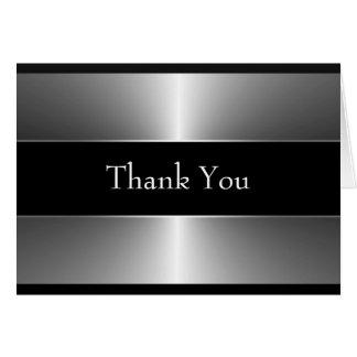 Elegante Schwarze und silberne danken Ihnen Karte