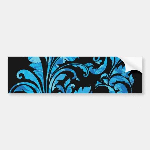 Elegante schwarzes u. blaues mit BlumenVintages Autoaufkleber